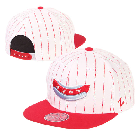 Chicago Dogs Zephyr Alternate Logo Flat Brim Wool Pinstripe Snapback Hat - White/Red