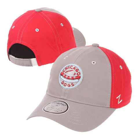 Chicago Dogs Zephyr Womens Feisty Primary Logo Adjustable Slouch Hat - Grey/Red - Chicago Dogs Team Store