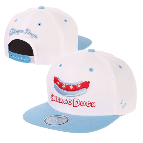 Chicago Dogs Zephyr Secondary Logo Flat Brim Adjustable Snapback Hat - White/Light Blue - Chicago Dogs Team Store