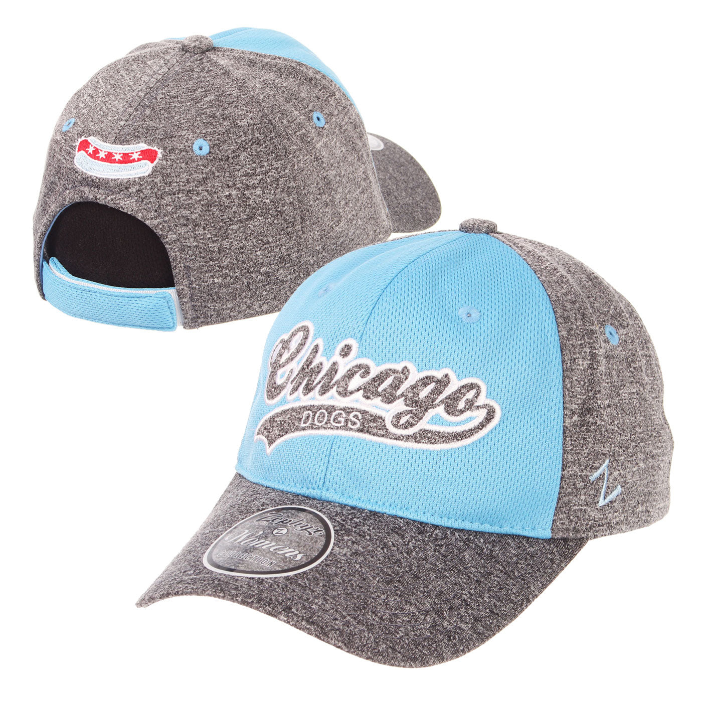 Chicago Dogs Zephyr Womens Chicago Baseball Script Jersey Adjustable Hat - Light Blue/Gray