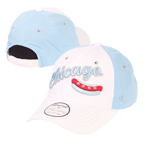 Chicago Dogs Zephyr Womens Feisty Script Wordmark Adjustable Slouch Hat - White/Light Blue - Chicago Dogs Team Store