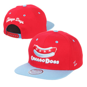 Chicago Dogs Zephyr Secondary Logo Flat Brim Adjustable Snapback Hat - Red/Light Blue - Chicago Dogs Team Store