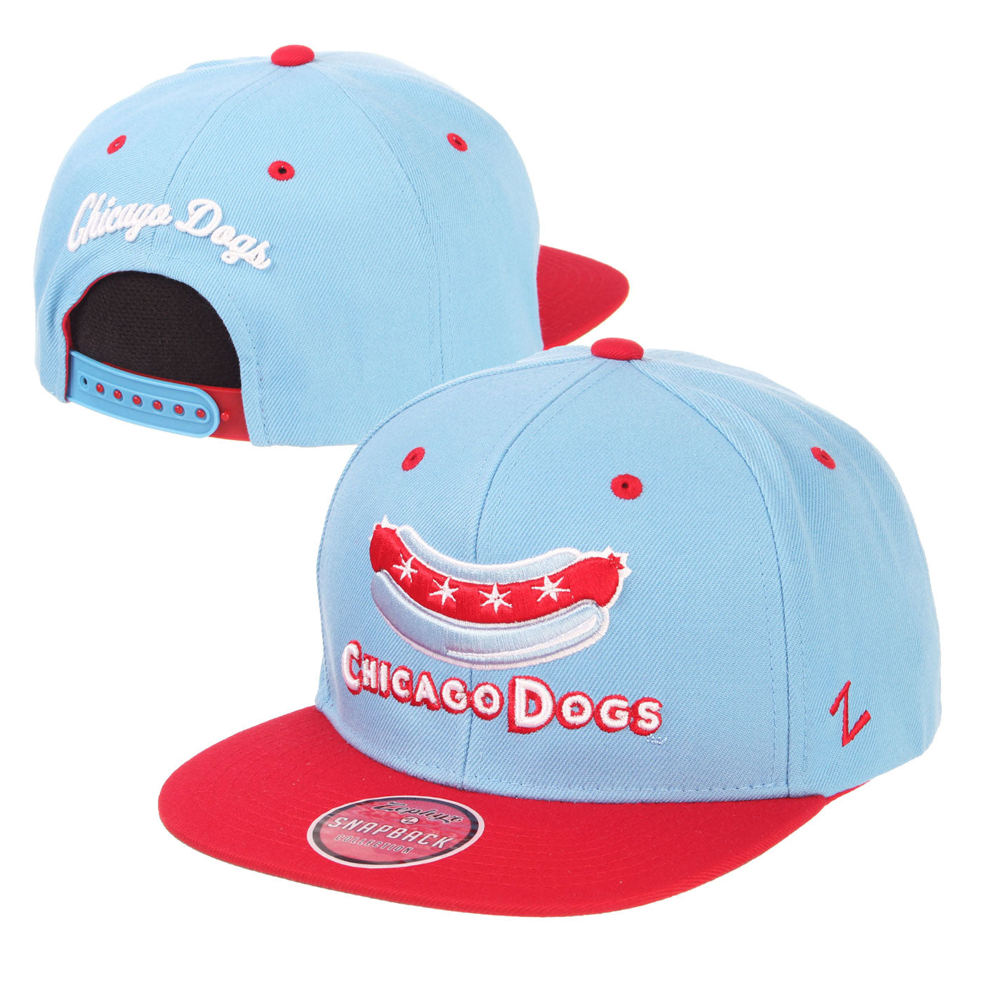 Chicago Dogs Zephyr Secondary Logo Flat Brim Adjustable Snapback Hat - Light Blue/Red - Chicago Dogs Team Store