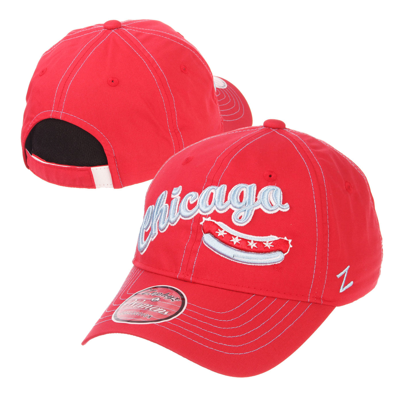 Chicago Dogs Zephyr Womens Feisty Script Wordmark Adjustable Slouch Hat - Red