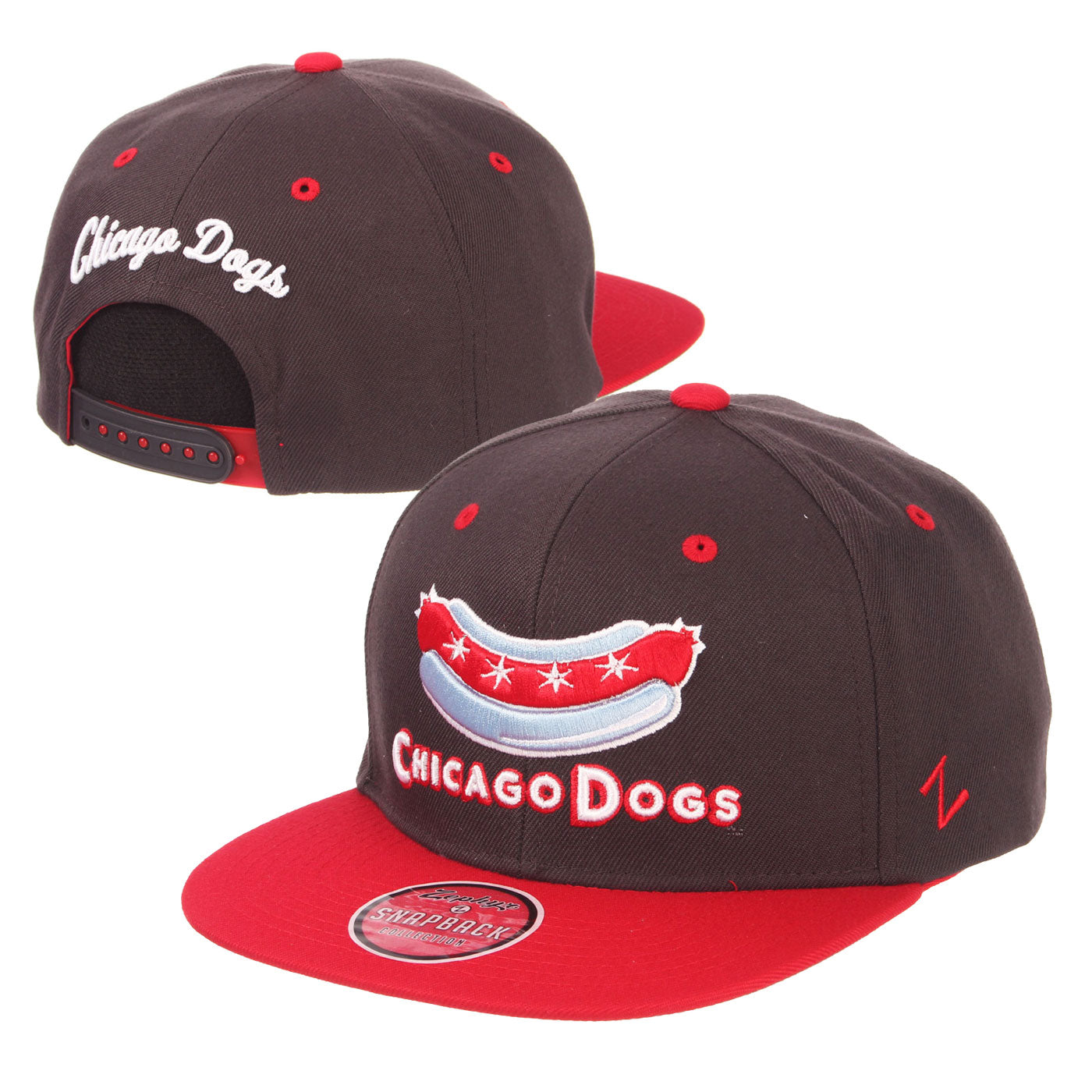 Chicago Dogs Zephyr Secondary Logo Flat Brim Adjustable Snapback Hat - Charcoal/Red