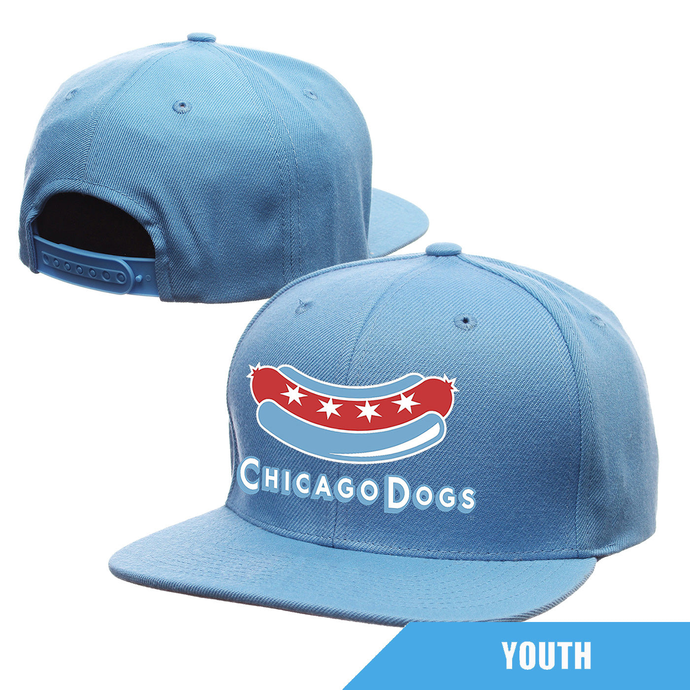 Chicago Dogs Outerstuff Youth Secondary Logo Flatbrim Snapback Hat - Light Blue