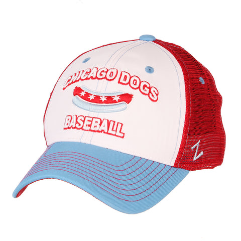 Chicago Dogs Zephyr Three-peat Adjustable Slouch Mesh Hat - Red/White/Blue - Chicago Dogs Team Store