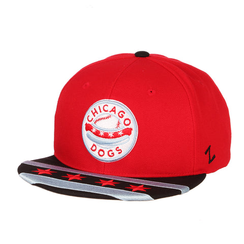 Chicago Dogs Zephyr Primary Logo City Flag Flat Brim Adjustable Snapback Hat - Red