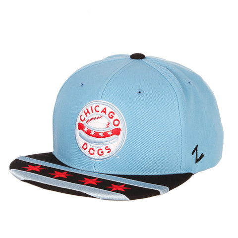 Chicago Dogs Zephyr Primary Logo City Flag Flat Brim Adjustable Snapback Hat - Light Blue