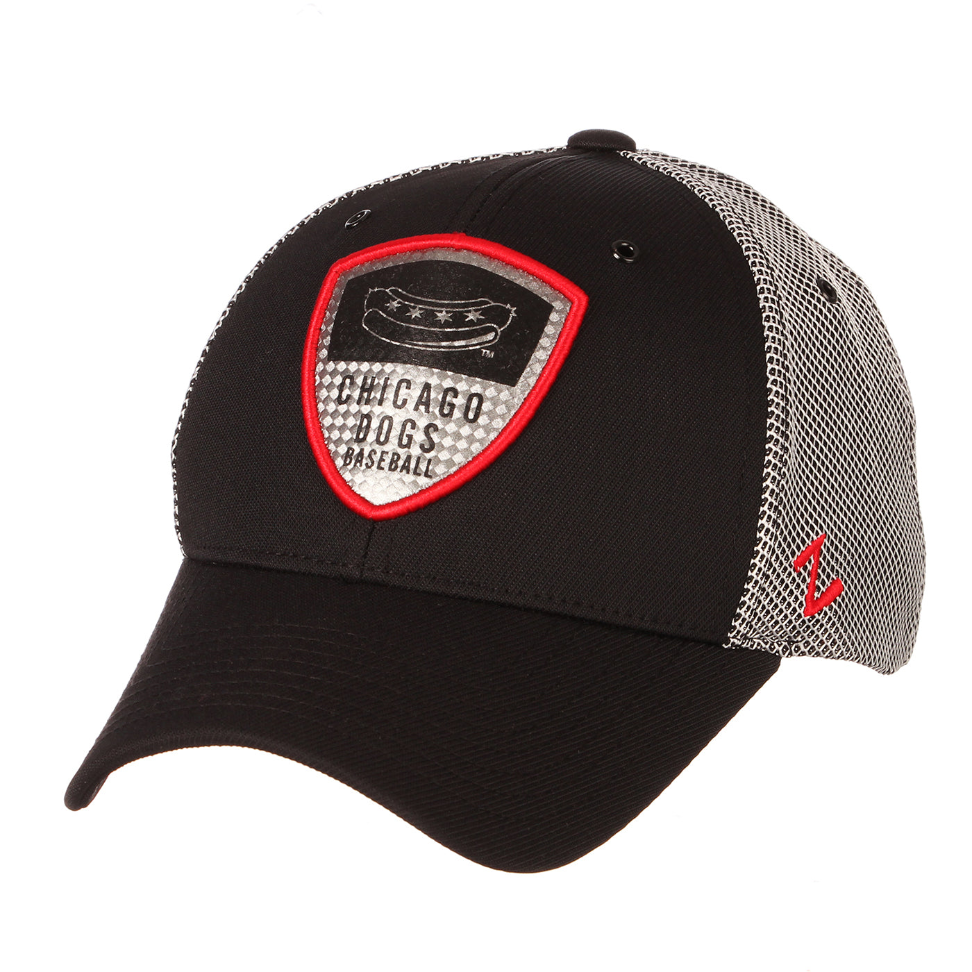 Chicago Dogs Zephyr Armour Red Accent Adjustable Hat - Black/Grey