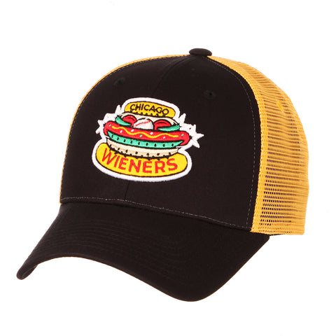 Chicago Dogs Zephyr Wieners Logo Adjustable Trucker Hat - Black/Yellow - Chicago Dogs Team Store