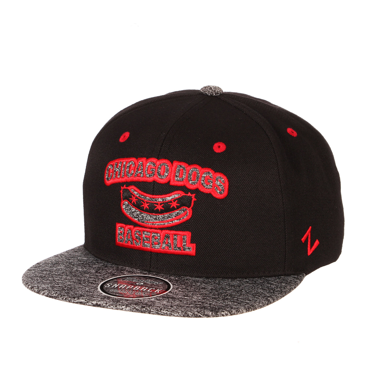 Chicago Dogs Zephyr Status Flat Brim Adjustable Snapback Hat - Black/Red