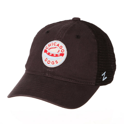 Chicago Dogs Zephyr Raven Adjustable Trucker Hat - Black - Chicago Dogs Team Store