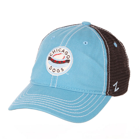 Chicago Dogs Zephyr Crosswinds Adjustable Slouch Mesh Hat - Light Blue/Black