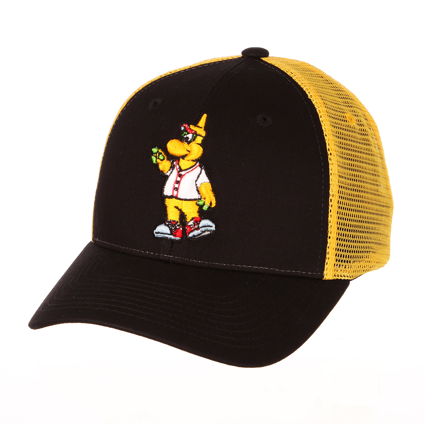 Chicago Dogs Zephyr Mascot Adjustable Trucker Hat - Black/Yellow - Chicago Dogs Team Store