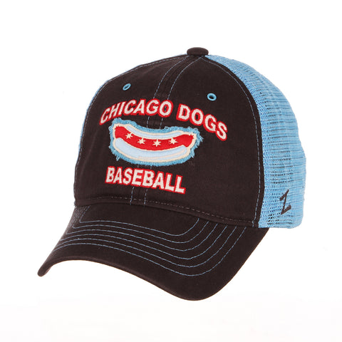 Chicago Dogs Zephyr Scholarship Adjustable Slouch Mesh Hat - Black/Blue - Chicago Dogs Team Store