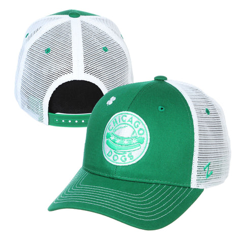 Chicago Dogs Zephyr St. Patrick's Day Mesh Trucker Hat - Green/White