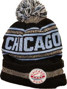 Chicago Dogs Primary Logo Cuffed Pom Knit Winter Hat - Black/Blue/Grey - Chicago Dogs Team Store