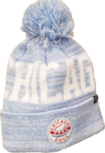 Chicago Dogs Primary Logo Cuffed Pom Knit Winter Hat - Blue/White - Chicago Dogs Team Store