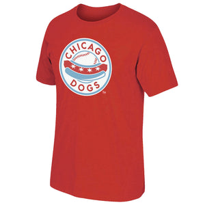 Chicago Dogs Mens Primary Logo Short Sleeve Basic Tee - Red
