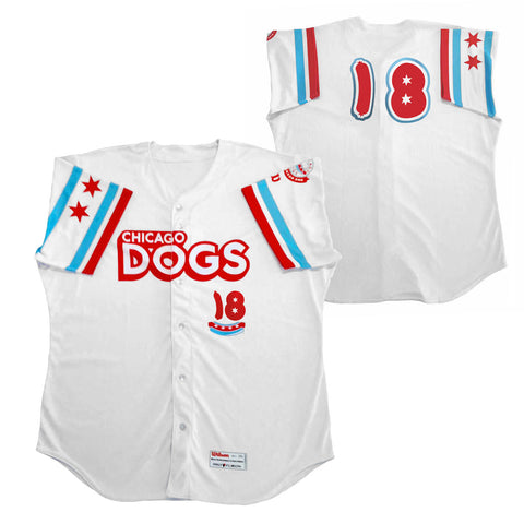 Chicago Dogs Wilson Pro Fusion Mens #18 Replica Home Jersey - White - Chicago Dogs Team Store