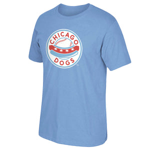 Chicago Dogs Mens Primary Logo Short Sleeve Basic Tee - Light Blue - Chicago Dogs Team Store