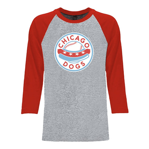 Chicago Dogs Mens Primary Logo 3/4 Sleeve Raglan Baseball Tee - Grey/Red - Chicago Dogs Team Store