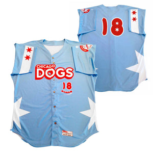 Chicago Dogs Wilson Pro Fusion Mens #18 Replica Road Jersey - Light Blue - Chicago Dogs Team Store