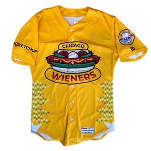 Chicago Dogs Wilson Pro Fusion Mens Replica Wieners Jersey – Yellow - Chicago Dogs Team Store