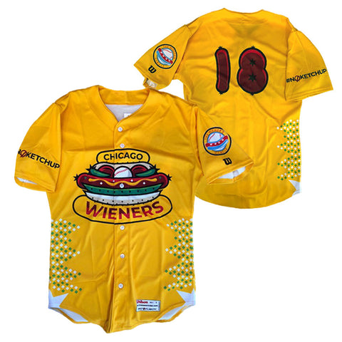 Chicago Dogs Wilson Pro Fusion Mens #18 Replica Wieners Jersey - Yellow