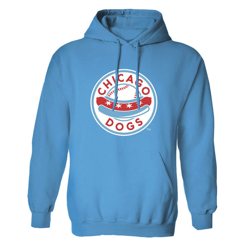 Chicago Dogs Men's Primary Logo Basic Hoodie - Light Blue - Chicago Dogs Team Store