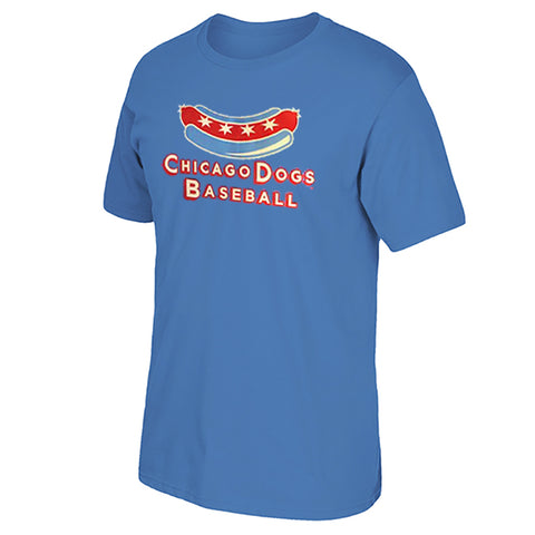 Chicago Dogs Mens Secondary Logo Short Sleeve Basic Tee - Light Blue