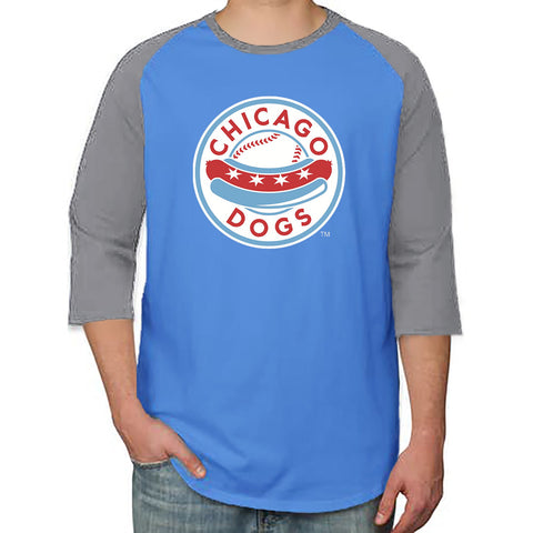 Chicago Dogs Primary Logo 3/4 Sleeve Raglan Tee - Light Blue/Grey - Chicago Dogs Team Store