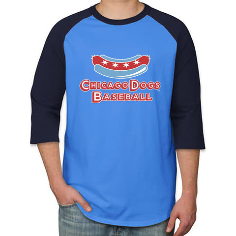 Chicago Dogs Secondary Logo 3/4 Sleeve Raglan Tee - Light Blue/Navy - Chicago Dogs Team Store
