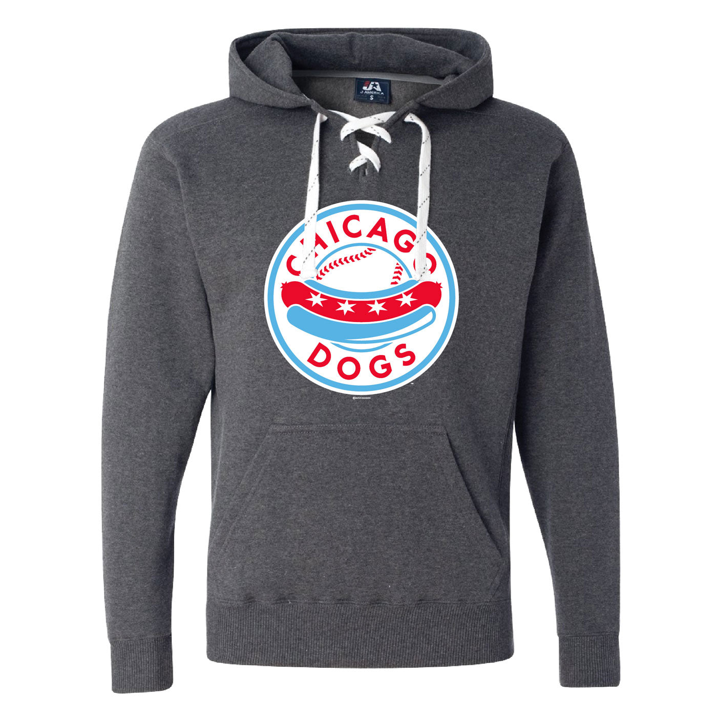 Chicago Dogs Bimm Ridder Men's Hockey Lace Up Hoodie - Grey - Chicago Dogs Team Store