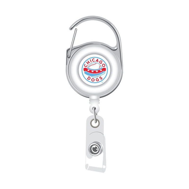 Chicago Dogs Aminco Deluxe Clip Badge Reel - White - Chicago Dogs Team Store