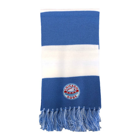 Chicago Dogs Primary Logo Embroidered Classic Knit Bar Scarf - Light Blue/White