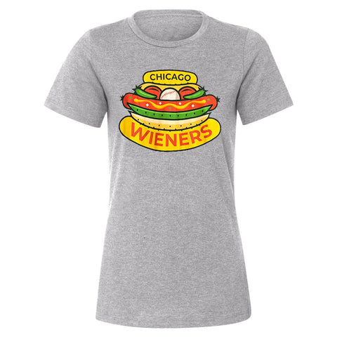 Chicago Dogs Womens Chicago Wieners Short Sleeve Tee - Heather Grey