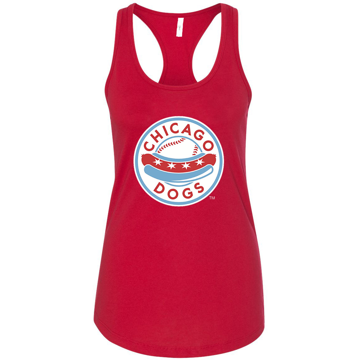 Chicago Dogs Womens Primary Logo Cotton Racerback Tank - Red