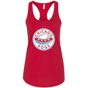 Chicago Dogs Womens Primary Logo Cotton Racerback Tank - Red - Chicago Dogs Team Store