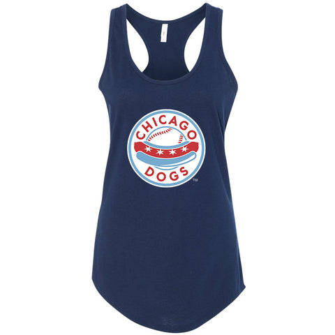 Chicago Dogs Womens Primary Logo Cotton Racerback Tank - Navy