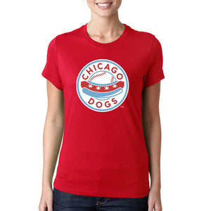 Chicago Dogs Womens Primary Logo Classic Fit Short Sleeve Tee - Red - Chicago Dogs Team Store