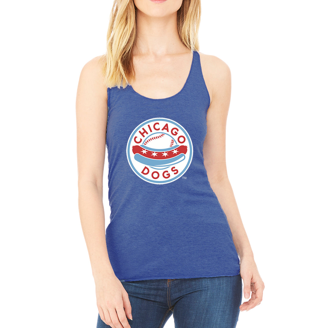 Chicago Dogs Womens Primary Logo Tri-blend Tank - Blue - Chicago Dogs Team Store