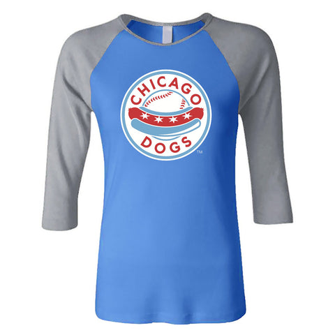 Chicago Dogs Womens Primary Logo 3/4 Sleeve Raglan Tee - Light Blue/Grey