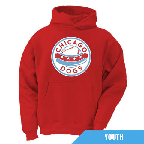Chicago Dogs Youth Primary Logo Fleece Hoodie - Red