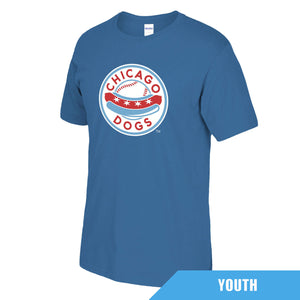 Chicago Dogs Youth Primary Logo Short Sleeve Basic Tee - Blue