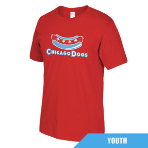Chicago Dogs Youth Secondary Logo Short Sleeve Basic Tee - Red - Chicago Dogs Team Store