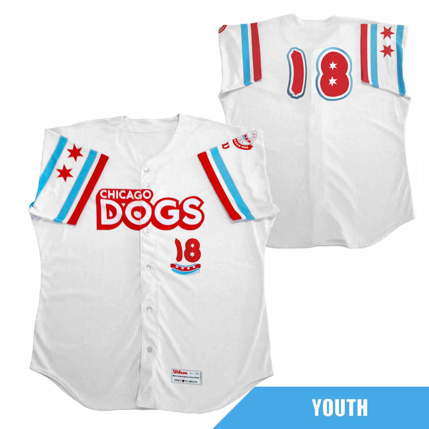 Chicago Dogs Wilson Pro Fusion Youth #18 Replica Home Jersey - White - Chicago Dogs Team Store