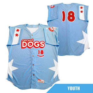 Chicago Dogs Wilson Pro Fusion Youth #18 Replica Road Jersey - Light Blue - Chicago Dogs Team Store