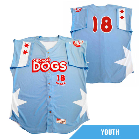 Chicago Dogs Wilson Pro Fusion Youth #18 Replica Road Jersey - Light Blue